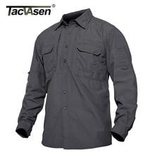 TACVASEN גברים של טקטי חולצות קיץ קל משקל מהיר ייבוש חולצות צבא צבאי חולצות ארוך שרוול חיצוני עבודה מטען חולצות