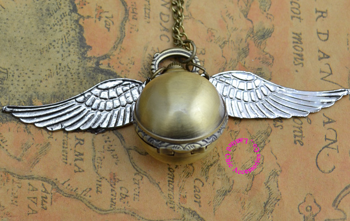 fashion retro vintage silver wing bronze gold snitch ball pocket watch necklace women golden hour good quality hot lady girl new