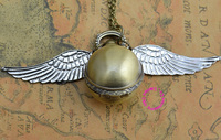 Fashion retro vintage silver wing bronze gold snitch ball pocket watch necklace women golden hour good.jpg 200x200