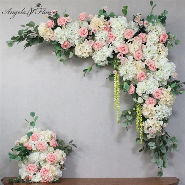 1 סט 120cm 3D אירופאי סגנון DIY חתונה שלב דקור מלאכותי פרח קיר קשת משי עלה אדמונית צמחים עיצוב תפאורה פרח קיר