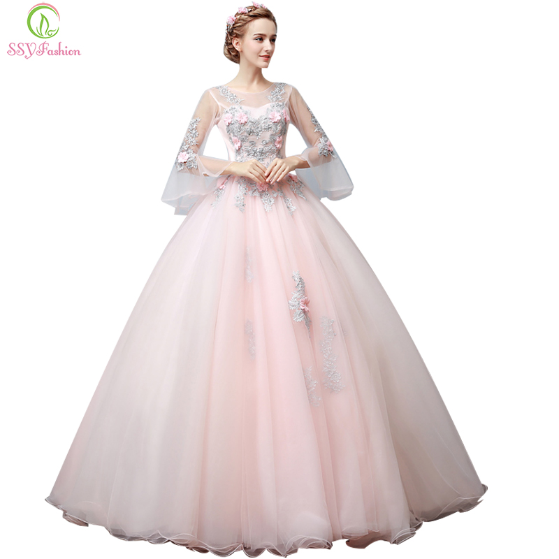 SSYFashion High-grade Evening Dress Sweet Pink Lace Flower Fairy Trumpet Sleeves A-line Long Prom Dresses Banquet Party Gown
