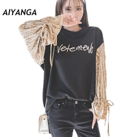 Fashion Patchwork Hoodies Sweatshirts For Women O Neck Long Sleeve Lace Up Bow Embroidery Letters Casual