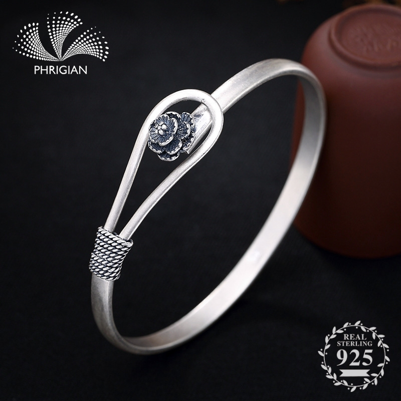 NOT FAKE S990 Fine Jewelry  925  Sterling Silver Bangle S925 Vintage Ethnic flower Handmade Natural Women Luxury retro 925 roseNOT FAKE S990 Fine Jewelry  925  Sterling Silver Bangle S925 Vintage Ethnic flower Handmade Natural Women Luxury retro 925 rose
