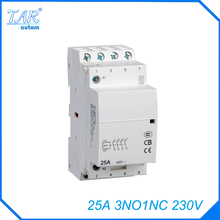 Free shipping high quality 50/60Hz 25A  4P 3NO 1NC 230V 4-pole household mini DIN Rail modular AC contactor  стоимость