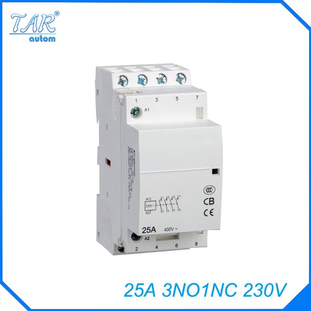 Free shipping high quality 50/60Hz 25A  4P 3NO 1NC 230V 4-pole household mini DIN Rail modular AC contactor