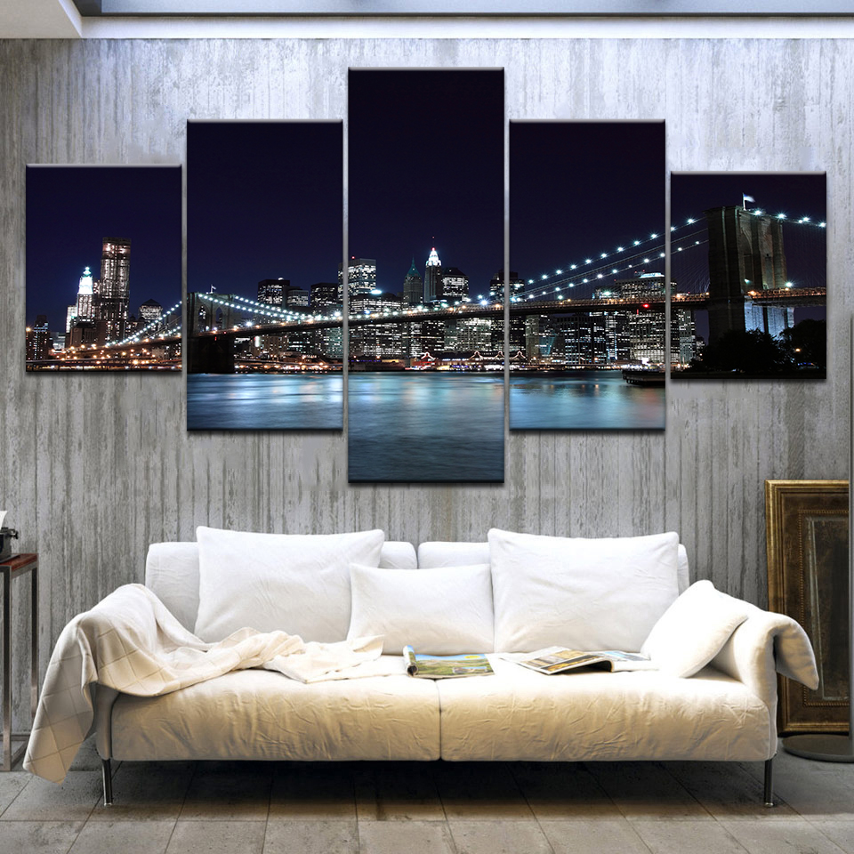 Modern Canvas Pictures Wall Art Frame Home Decor 5 Pieces Brooklyn Bridge Waterfront City Nightscape Paintings HD Prints Posters image
