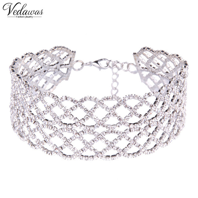Vedawas Large Wide Rhinestone Crystal Choker Necklace Collar 2017  Gold Silver Color Hollow Round Chunky Chocker For Women 1550 e045cee9c8b4