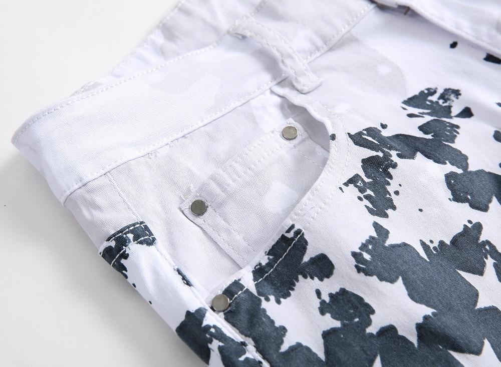 New Luxury Brand Stretch Mens Jeans American Flag Printing Jeans Män - Herrkläder - Foto 2
