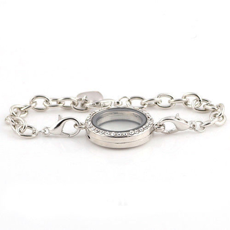 GOOD PRICE Silver Women Charming Magnetic Crystal Photo Frame Bracelet Living Memory Flo ...