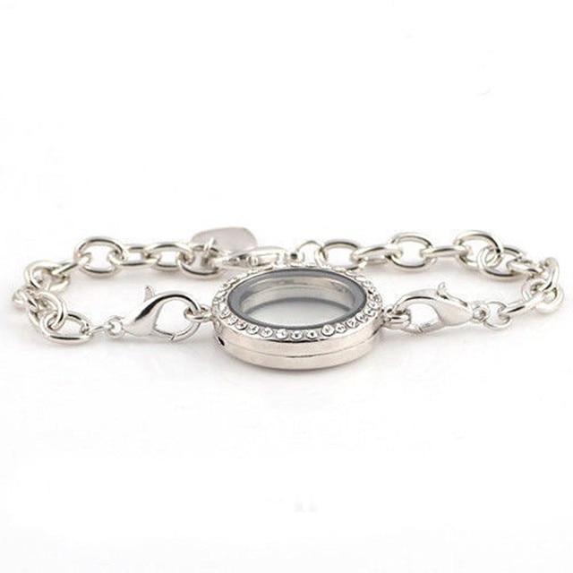 STYLISH Silver Women Charming Magnetic Crystal Photo Frame Bracelet ...