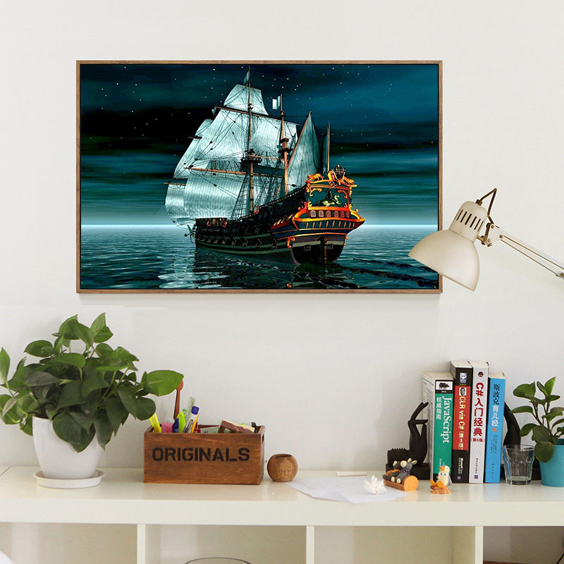 Meian,40x50cm Full 14CT Sailing Boat Cross Stitch DIY White Canvas DMC Counted Kits Cross-stitch set Embroidery Needlework,VS13