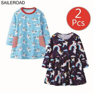 Image 4 - SAILEROAD 2pcs Elephant Appliques Girls Long Sleeve Dress for 7 year Girls Clothes Animal Dresses for Children 6Years Embroidery