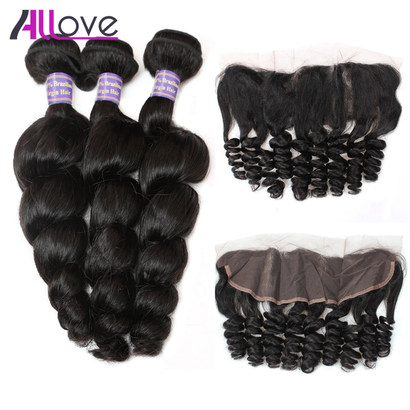 Allove Malaysian Loose Wave Hair Bundles With Closure Remy Human Hair Weave 3 Bundles With Closure Ear To Ear Frontal Closure