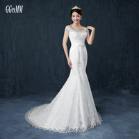 Fashion White Mermaid Wedding Gowns Long 2018 New Sexy Wedding Dress Formal Bride Dresses Ivory Scoop Appliques Beading Lace Up