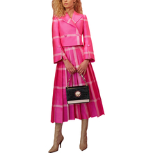 2019 Fashion Women Spring Runway Outfit Turn-down Collar Blouse Pleated Skirt Striped Plus Size XXXL Twin Set Pink 2 Pieces Set цена
