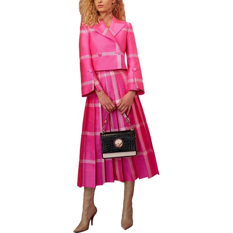 2019 Mulheres Da Moda Primavera Runway Roupa Colarinho Turn-down Blusa Saia Plissada Listrado Plus Size XXXL Twin Set Rosa 2 peças Conjunto