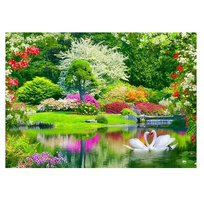 5d Diamond Embroidery landscape home decor house&river Diamond painting scenery picture pastes Round crystal Cross Stitch swan