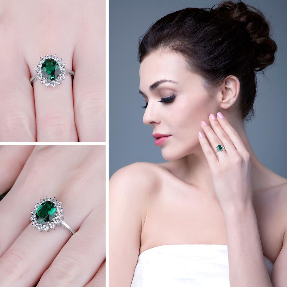 JewPalace Princess Diana Simulated Emerald Ring 925 Sterling Silver Rings for Women Engagement Ring Silver 925 JewPalace Princess Diana Simulated Emerald Ring 925 Sterling Silver Rings for Women Engagement Ring Silver 925 Gemstones Jewelry