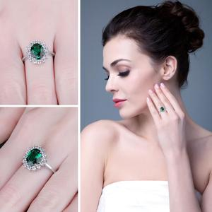 Image 4 - JewPalace Princess Diana Simulated Emerald Ring 925 Sterling Silver Rings for Women Engagement Ring Silver 925 Gemstones Jewelry
