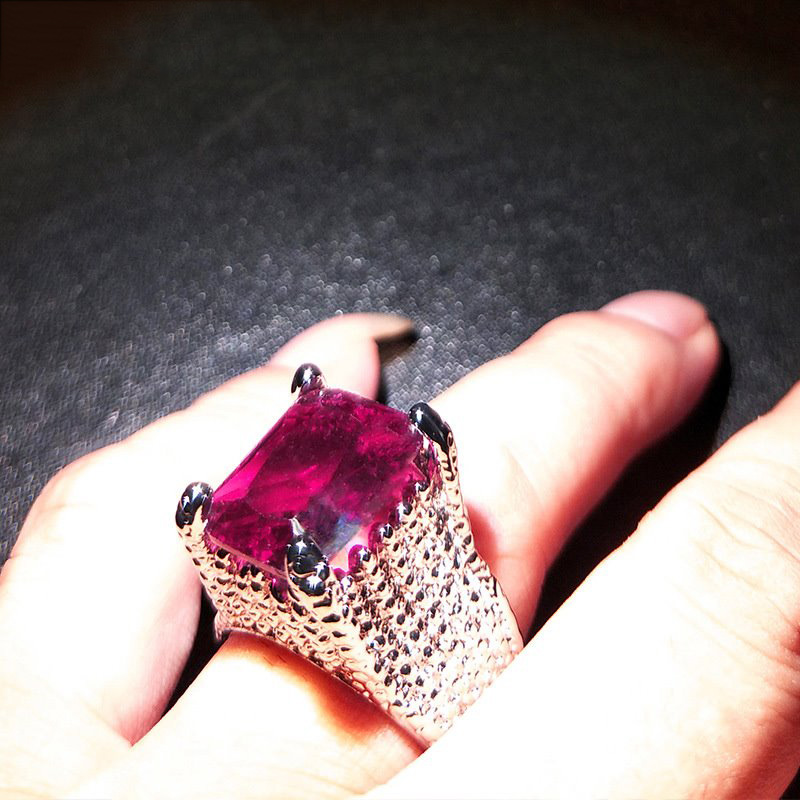 Large Red Ruby Stone Ring Bright Silver Amethyst Rings For Women Wedding Engagemnt Bijoux Ring Luxury Jewelry Bague Anillos