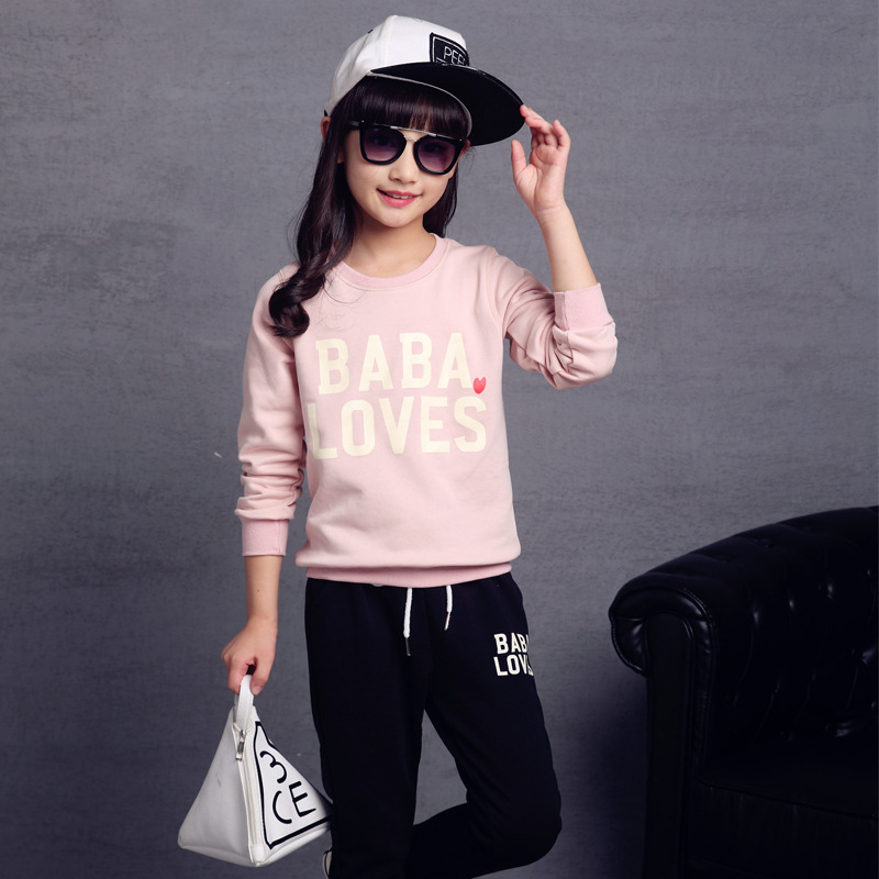 Letter Girls Clothes Set Autumn Sports Suits Kids Teens 2017 School Wear Active 5 6 7 8 9 10 11 12 13t Long Sleeve Shirt + Pant 4 5 6 7 8 9 10 11 12 13t girls clothes set spring long sleeve shirt pant girls sports suit 2pcs print toddler girls clothing