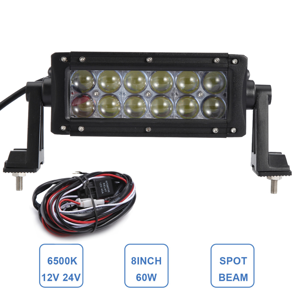60W LED Light Bar 8'' Offroad 12V 24V Car Truck 4WD SUV ATV 4X4 Auto Trailer Wagon UTE AWD Boat Spot Driving Fog Lamp Headlight offroad 234w led light bar 37 12v 24v off road atv auto suv ute 4x4 truck trailer tractor boat yacht wagon pickup headlight