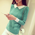 2017 New fashion doll collar head slim shirt sweaters short Sweater Girl pullovers