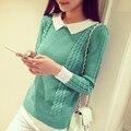 2017 Nueva moda collar de la muñeca delgada camisa Suéter suéteres cortos Chicas jerseys
