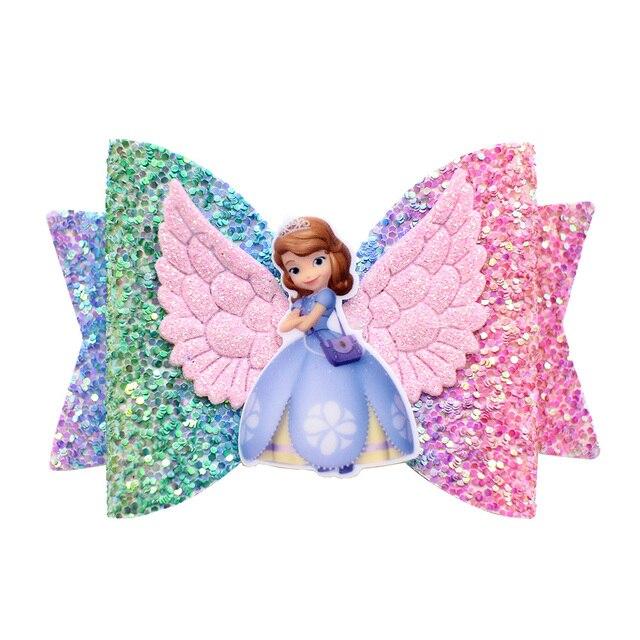 נסיכת כנף שיער אביזרי עבור בנות ילדים רב שכבה גליטר שיער קשתות קליפים בעבודת יד אלזה אנה סיכות כיסוי ראש