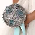Luxurious Hand-Made Top quality gem Brooch bride Bridal wedding bouquet brides maid rhinestones Artificial Blue flowers 8589G