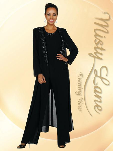 Custom Made Black Grey Mother of the Bride Pant Suits 3 Pieces Bead Chiffon Pant Suit Wedding With Long Jacket Godmother Dresses