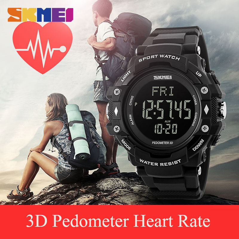 Clock Men Watches Sports Health Watches 3D Pedometer Heart Rate Monitor Calories Counter Waterproof Digital LED Wristwatches image