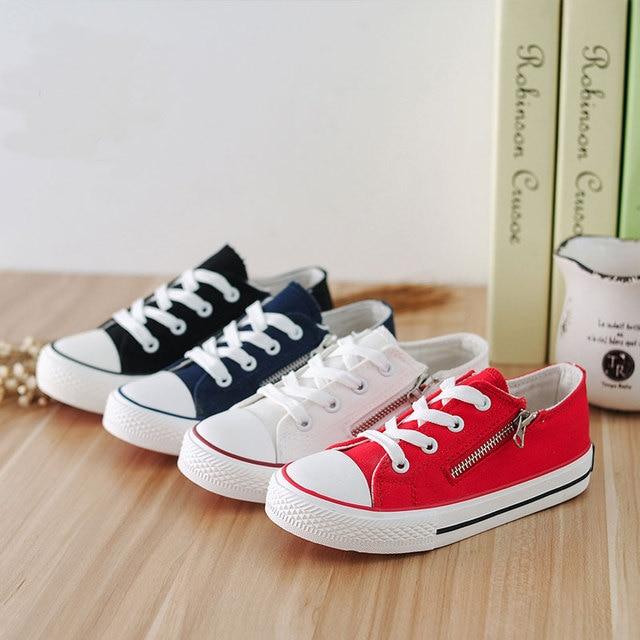 74eac3e49 الصلبة اللون حذاء قماش أبيض أحمر أسود أزرق الأطفال أحذية رياضية الجانب سستة  الشقق Zapatos ديبورتي