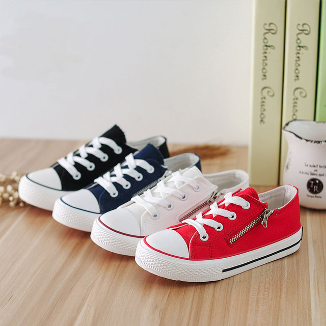 1285999e Solid Color Canvas Shoes White Red Black Blue Children Sport Shoes Side  Zipper Flats Zapatos Deporte Casual Boys Girls Shoes New
