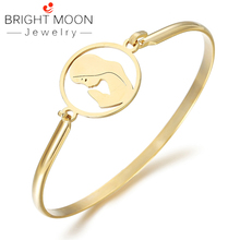 BRIGHT MOON Trendy Bracelets Bangles Stainless Steel Portraitist Punk for Women Gift Jewelry Gift Free Shipping Dropshipping bright moon hot sale stainless steel women bracelets charming bangles suitable bracelets for women men jewelry gift