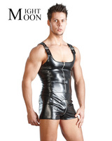 MOONIGHT PU Leather Men Sexy Playsuit Faux Latex Male Erotic Jumpsuit Club Stage Costume Gays Sex