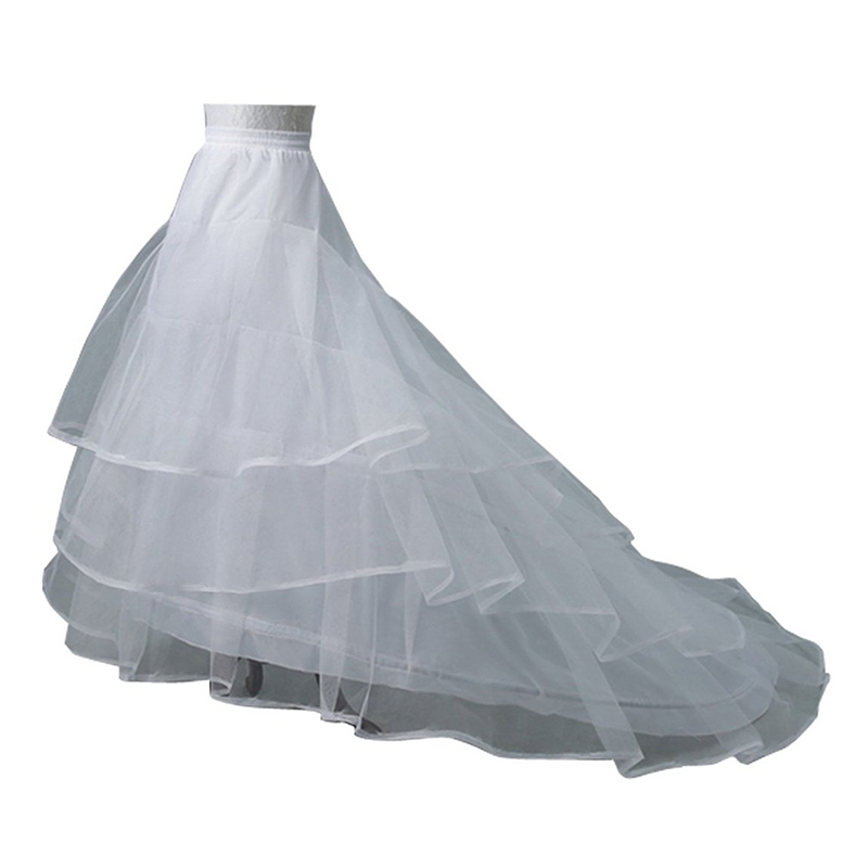 Doragrace Wedding Dress Crinoline Bridal Petticoat Underskirt 2 Hoops With Chapel Train