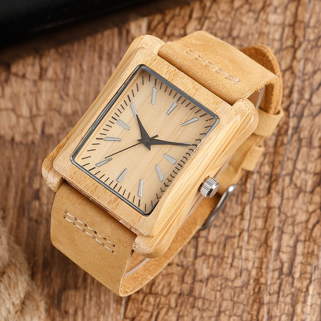 Creative Rectangle Dial Wood Watch Natural Handmade Light Bamboo Fashion Men Women Casual Quartz Wristwatch Genuine Leather Gift 3