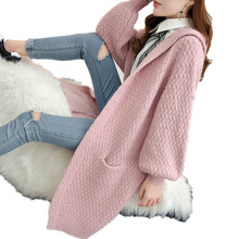 Korean Hooded Female Cardigan Open Stitch Sweater for Women Pink Ladys Winter Long Knit Red Sweaters