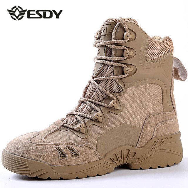 Esdy Winter Men's Desert Camouflage Genuine Leather Army Combat Boots Men High Military Tactical Hiking Boots Coturnos Masculino