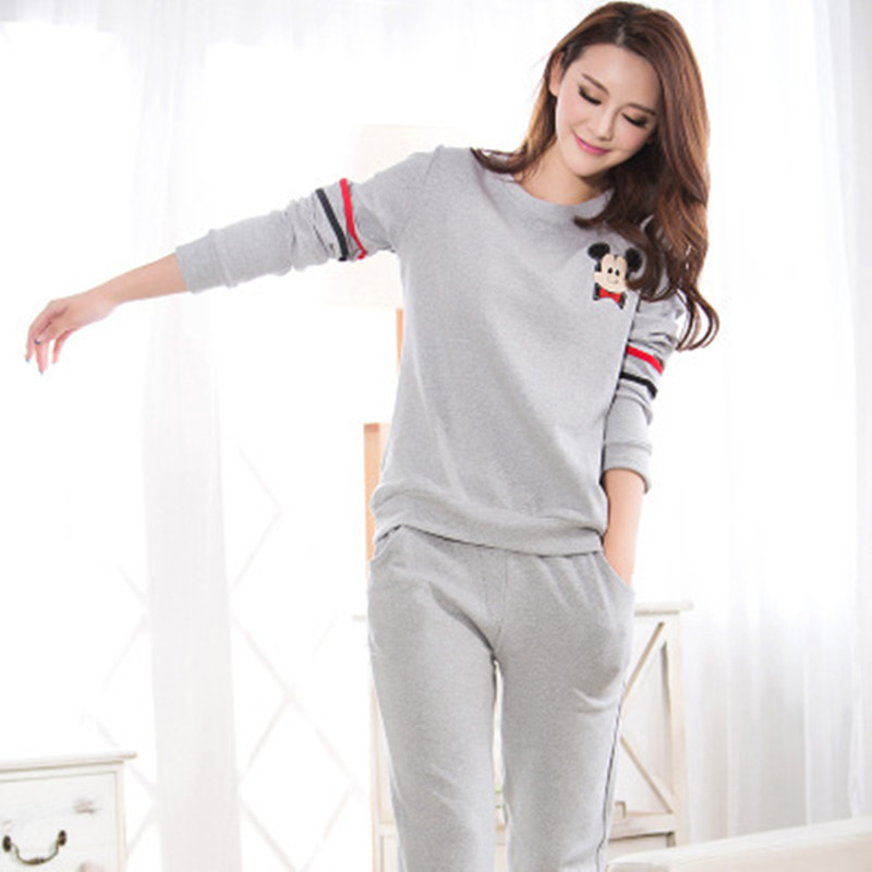 100% Cotton   Pajamas     Set   Women Cartoon Cute Student Pyjama Female Long Sleeve Shirt Pants 2Piece/  Set   Mom Homewear Loose Size