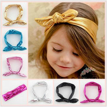 ND1 2017 New Korea lovely baby Rabbit ear Headbands kids girl Bronzing Leather Elastic hair band knotted wide hoop Headwear