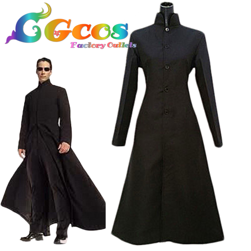 CGCOS Free Shipping Cosplay Costume The Matrix Neo Wool Trench Coat Uniform Anime Halloween Christmas Party