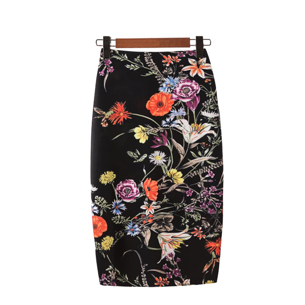 New Fashion Wholesale Summer Women's Pencil Skirt Floral Printing Midi Skirt Saia Women Casual Skirt