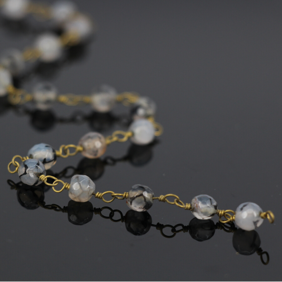 DIY 5Meter Natural Grey Agate Faceted Round Bead Chain,Gold Wire ...