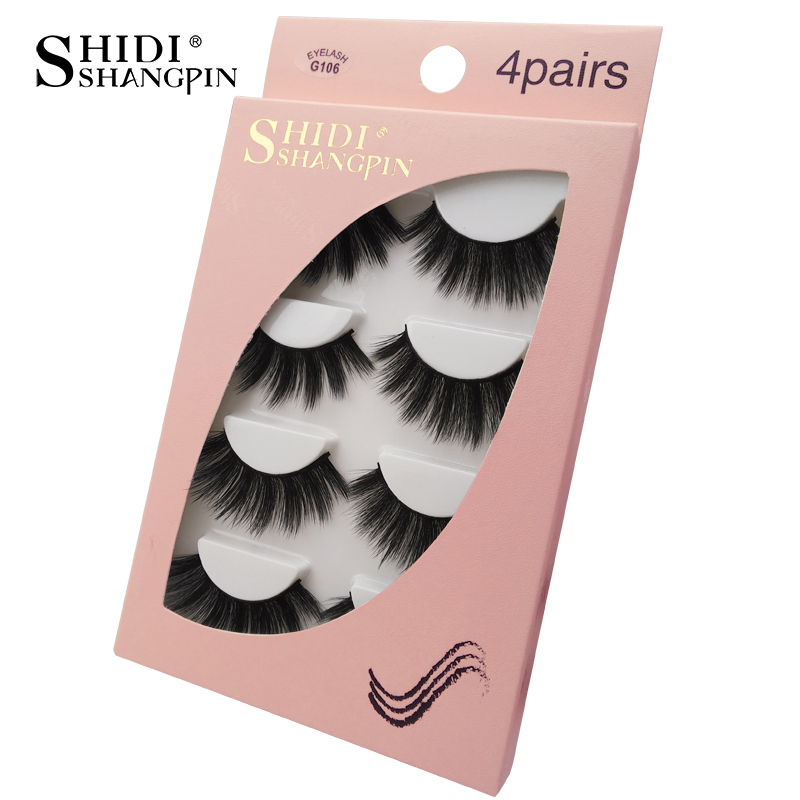 HTB149EvaJfvK1RjSszhq6AcGFXaN Natrual long 3D Mink False Eyelashes wholesale 4 pairs Fluffy Make up Full Strip Lashes 3D Mink Lashes faux cils Soft Maquiagem