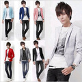 Free Shipping Korea Black Slim Skinny Causal Suits For Men Single Button White Prom Suit Male Grey Blazers Coats Wholesales