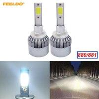 1Pair 2pcs Car LED Headlight 880 881 2 COB 6500K 72W 7600LM 880 881 Auto LED