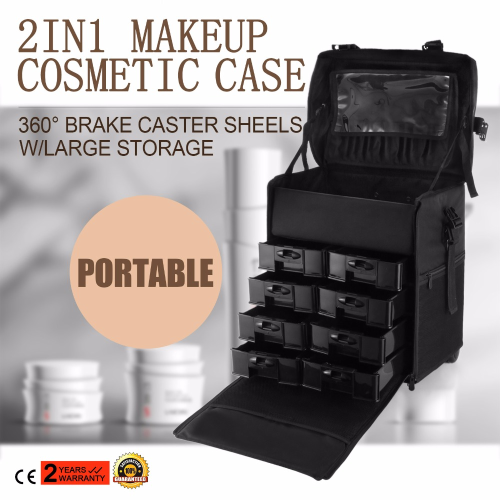 Makeup Case Rolling Hairdressing Bag Beauty Trolley Nail Cosmetic Box TO China