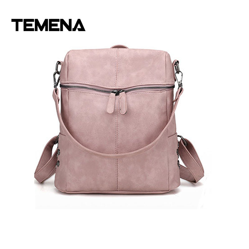Temena New Backpack Women PU Leather Rivet Backpacks For Teenage Girls School Bags Fashion  Solid Shoulder Bag Mochila ABP345